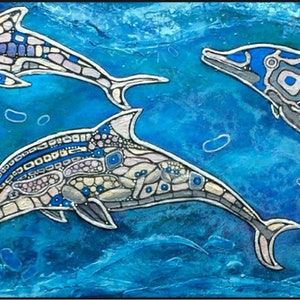 (CreativeWork) Dolphins at play  by Lynette Kring. mixed-media. Shop online at Bluethumb.