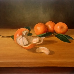 (CreativeWork) Still Life with Mandarins by Bern Ferraz. oil-painting. Shop online at Bluethumb.