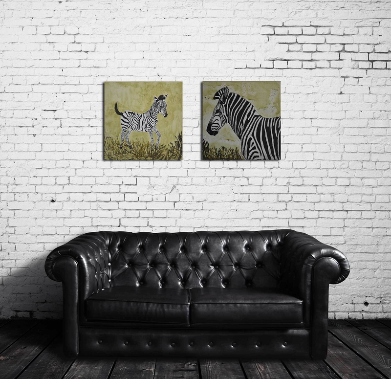 (CreativeWork) Zebra Mother and Child (pair) by Deborah Christensen. arcylic-painting. Shop online at Bluethumb.