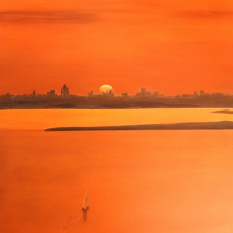 (CreativeWork) Yas Island Sunset by Tammy McGarry. Acrylic Paint. Shop online at Bluethumb.