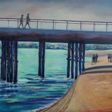 (CreativeWork) Crossing the Bridge by Diane Hodson. Oil Paint. Shop online at Bluethumb.