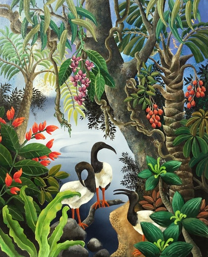 (CreativeWork) IBISES  AT THE WATER'S EDGE by Johanna Hildebrandt. arcylic-painting. Shop online at Bluethumb.