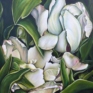 (CreativeWork) The Elegance Of Tulips. by Marianne Ulbrick. arcylic-painting. Shop online at Bluethumb.
