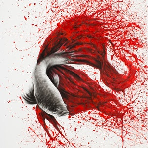 (CreativeWork) Fire Dance Fish by Ashvin Harrison. arcylic-painting. Shop online at Bluethumb.