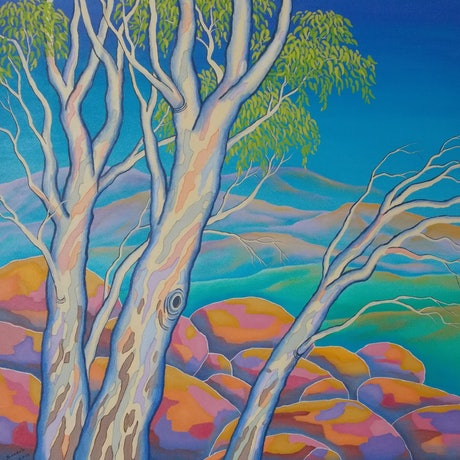 "(CreativeWork) ""POLYCHROME EUCALYPTI 4"" by Saadah Kent. Acrylic Paint. Shop online at Bluethumb."