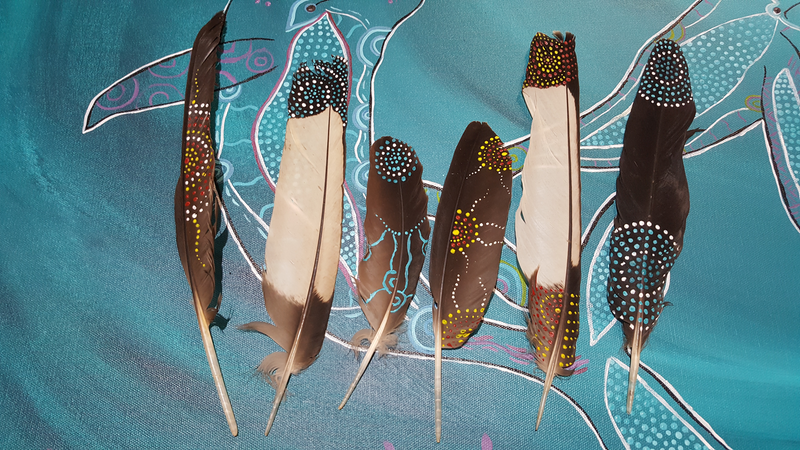 (CreativeWork) Painted Carnaby Cockatoo feathers  by Rebecca Reid. acrylic-painting. Shop online at Bluethumb.
