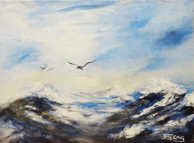 (CreativeWork) Sea Birds 1 by Jess King. acrylic-painting. Shop online at Bluethumb.