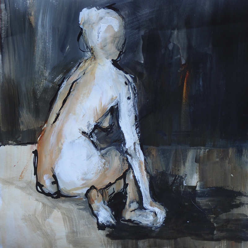 (CreativeWork) Seated Nude by Karen Hammat. mixed-media. Shop online at Bluethumb.