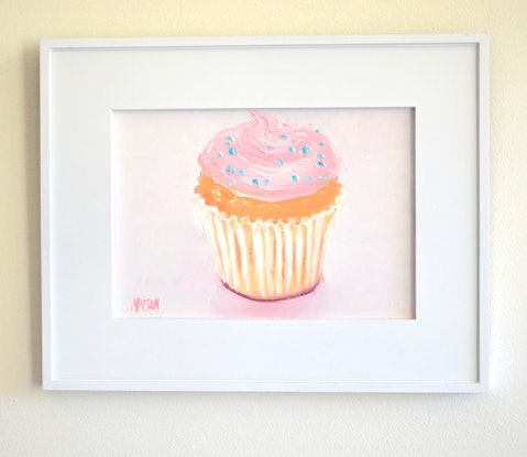 (CreativeWork) Cupcake with pink frosting by Jan Matson. Oil Paint. Shop online at Bluethumb.
