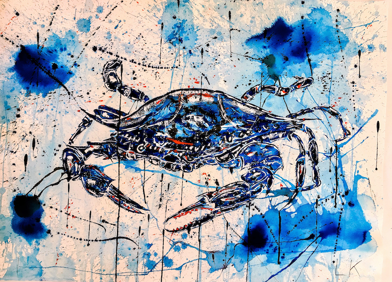 (CreativeWork) Blue Crab II by Leith Kennedy. mixed-media. Shop online at Bluethumb.