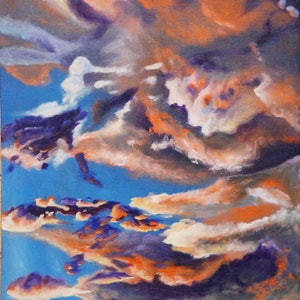 (CreativeWork) Summer evening clouds by Joanne Hill. arcylic-painting. Shop online at Bluethumb.