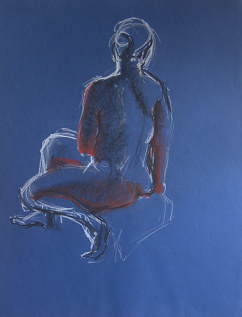 (CreativeWork) Life Drawing - Woman Sitting  - Blue by Ishbel Morag Miller. drawing. Shop online at Bluethumb.