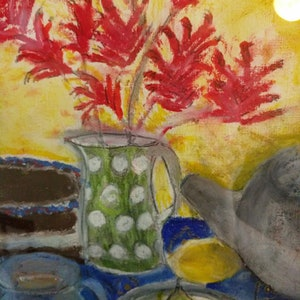 (CreativeWork) Morning Tea with Kangaroo Paw by Jennavive Johnson. oil-painting. Shop online at Bluethumb.