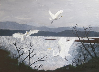 (CreativeWork) GREAT EGRETS by Lisa Dangerfield. arcylic-painting. Shop online at Bluethumb.