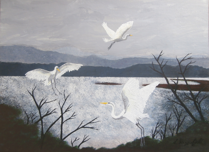 (CreativeWork) GREAT EGRETS by Lisa Dangerfield. acrylic-painting. Shop online at Bluethumb.