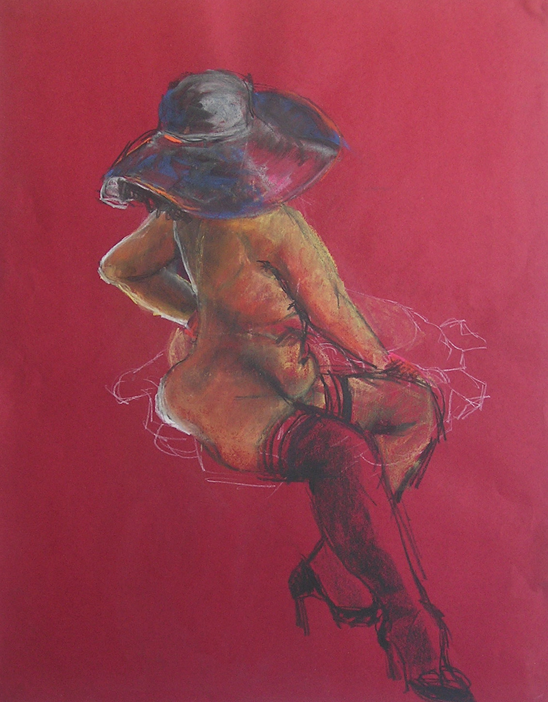 (CreativeWork) Life Drawing - Burlesque - Lady Sitting by Ishbel Morag Miller. drawing. Shop online at Bluethumb.