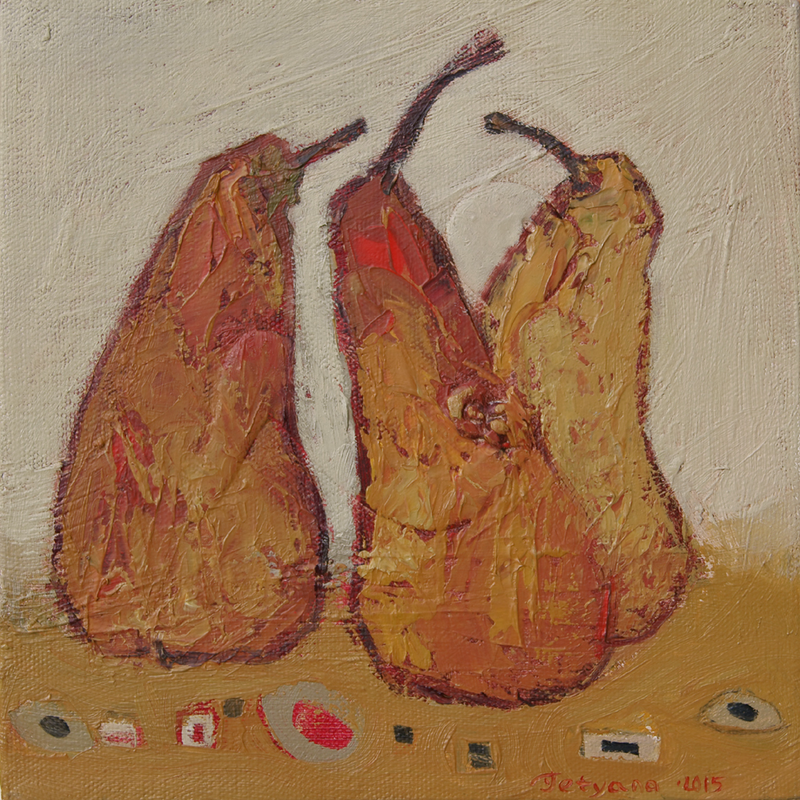 """(CreativeWork) Laughing Pears (""""Funny Pears"""" series) by Tetyana Khytko. oil-painting. Shop online at Bluethumb."""