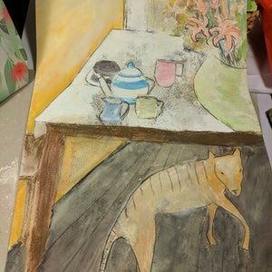 (CreativeWork) Ol' Tige'  come for tea by Jennavive Johnson. watercolour. Shop online at Bluethumb.