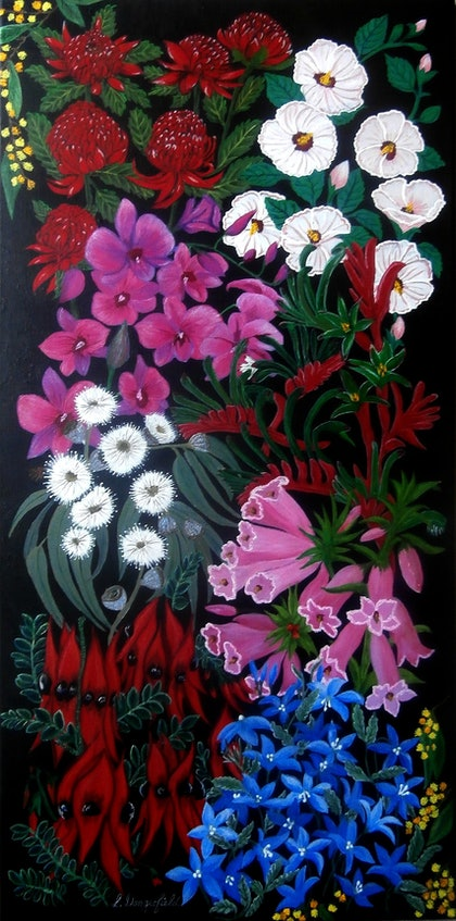 (CreativeWork) BLOOMIN AUSSIES by Lisa Dangerfield. arcylic-painting. Shop online at Bluethumb.