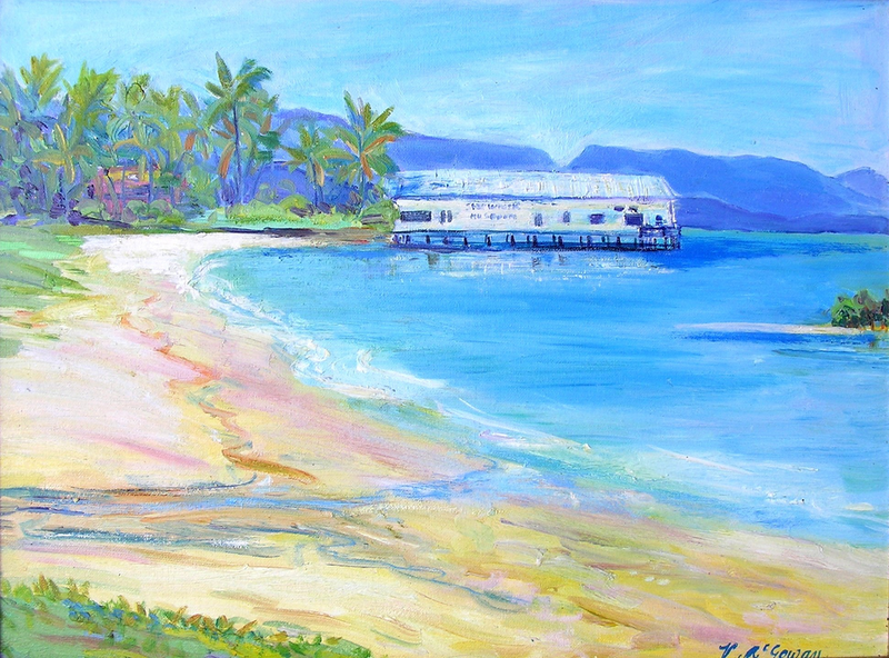 (CreativeWork) Port Douglas Ben Cropp Museum  by Virginia McGowan. oil-painting. Shop online at Bluethumb.