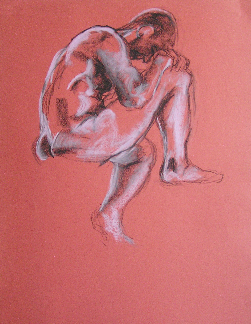 (CreativeWork) Life Drawing - Strong Man - On Peach by Ishbel Morag Miller. drawing. Shop online at Bluethumb.