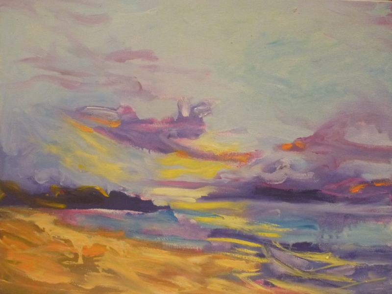 (CreativeWork) Dawn Breaks by Sara Warner. oil-painting. Shop online at Bluethumb.