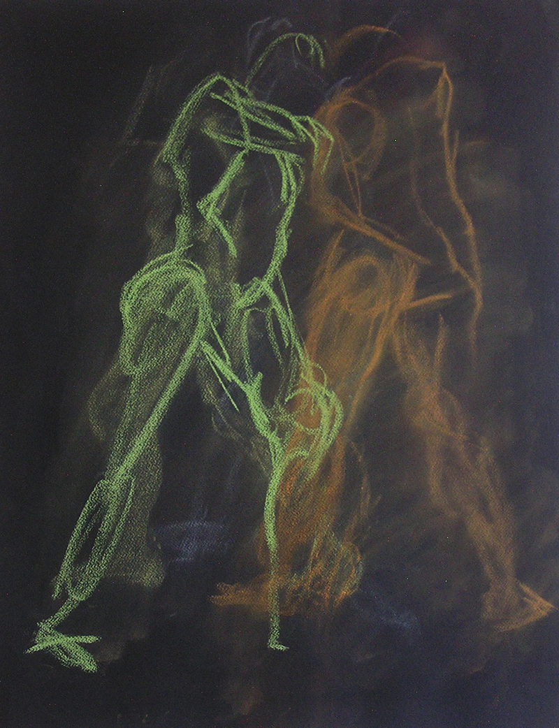(CreativeWork) Life Drawing - Quick Sketch - Green & Tan by Ishbel Morag Miller. drawing. Shop online at Bluethumb.