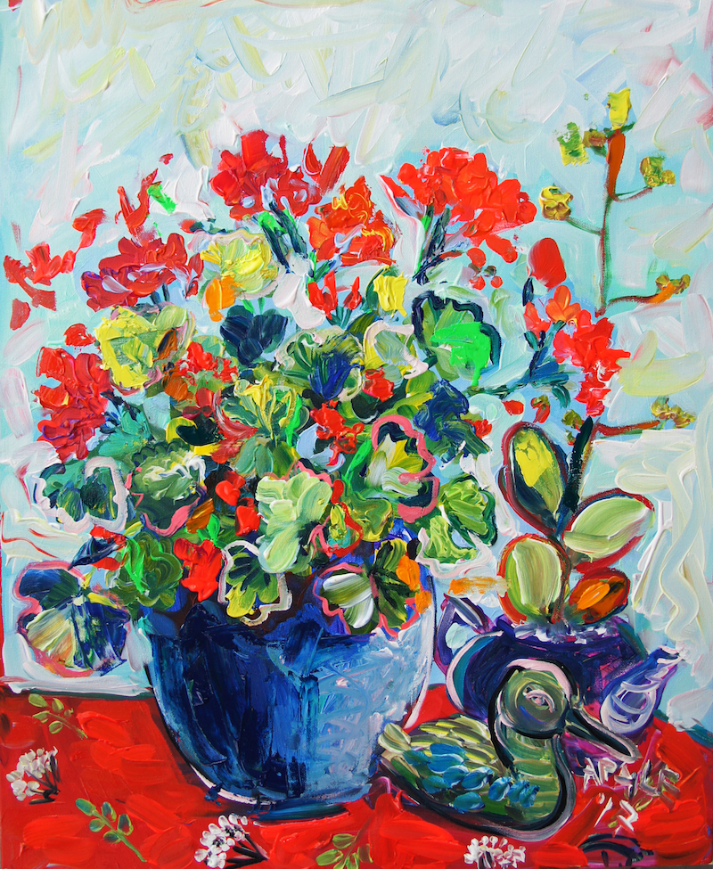 (CreativeWork) Geranium III by Katerina Apale. Acrylic Paint. Shop online at Bluethumb.