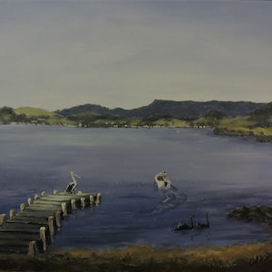(CreativeWork) One Lazy Morning Kanahooka Bay NSW by Colin Hadfield. arcylic-painting. Shop online at Bluethumb.