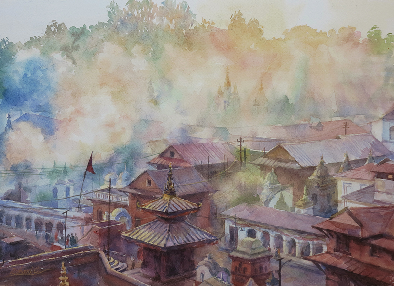 (CreativeWork) Morning Air by Richard(Tiejun) Chao. watercolour. Shop online at Bluethumb.