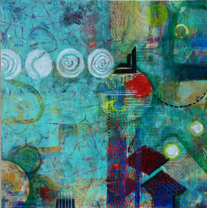(CreativeWork) Live in a Bubble by Veena Merchant. arcylic-painting. Shop online at Bluethumb.