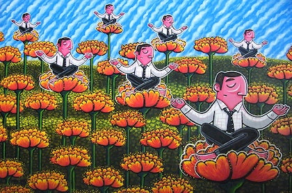 (CreativeWork) Zen and Kraftwerk (2014) by Mike Adey. arcylic-painting. Shop online at Bluethumb.
