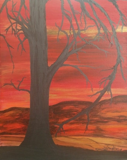 (CreativeWork) Fire Tree by Naomi Campbell. arcylic-painting. Shop online at Bluethumb.