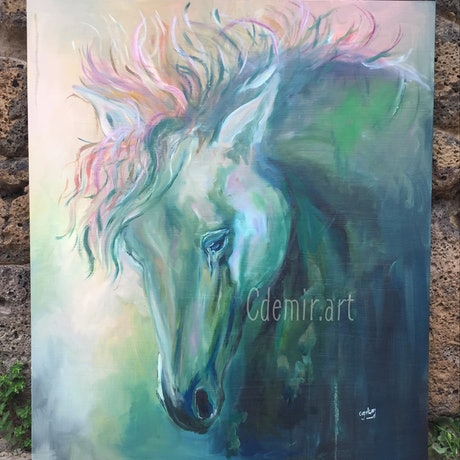 (CreativeWork) Verity (2017) by Cherry Demir. Oil Paint. Shop online at Bluethumb.