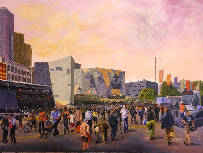 (CreativeWork) You Dropped It Again - Fed Sq by Cheng Huat Lee. acrylic-painting. Shop online at Bluethumb.