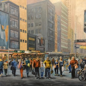 (CreativeWork) Busy Afternoon - Elizabeth St by Cheng Huat Lee. arcylic-painting. Shop online at Bluethumb.
