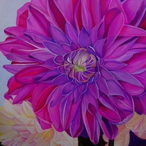 (CreativeWork) Dahlia by Tracey Hall. oil-painting. Shop online at Bluethumb.