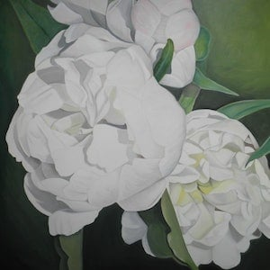 (CreativeWork) White Peonies by Tracey Hall. oil-painting. Shop online at Bluethumb.