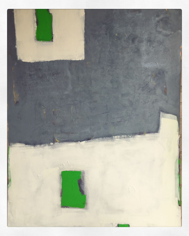 (CreativeWork) Green Moon, Green Door (2017) by Jerome Whitcroft. mixed-media. Shop online at Bluethumb.