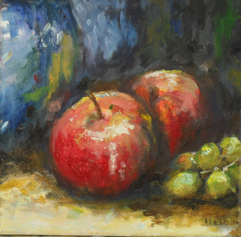 (CreativeWork) APPLE AND GRAPES by Hesh Fernando. oil-painting. Shop online at Bluethumb.