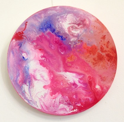 (CreativeWork) Moon Of The Pink Planet   by Olena Bloomfield. arcylic-painting. Shop online at Bluethumb.