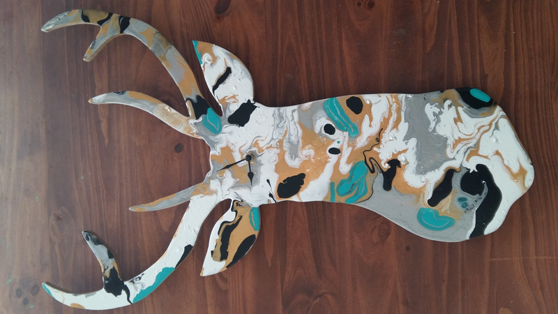 (CreativeWork) What's the time Deer? by Stacey Turner. mixed-media. Shop online at Bluethumb.