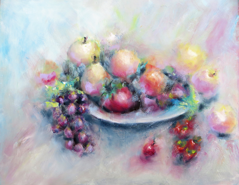 (CreativeWork) Fruit bowl by Zdenka Better. oil-painting. Shop online at Bluethumb.