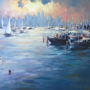 (CreativeWork) EVENING LIGHT (Williamstown  Victoria Australia) by Ivana Pinaffo. arcylic-painting. Shop online at Bluethumb.