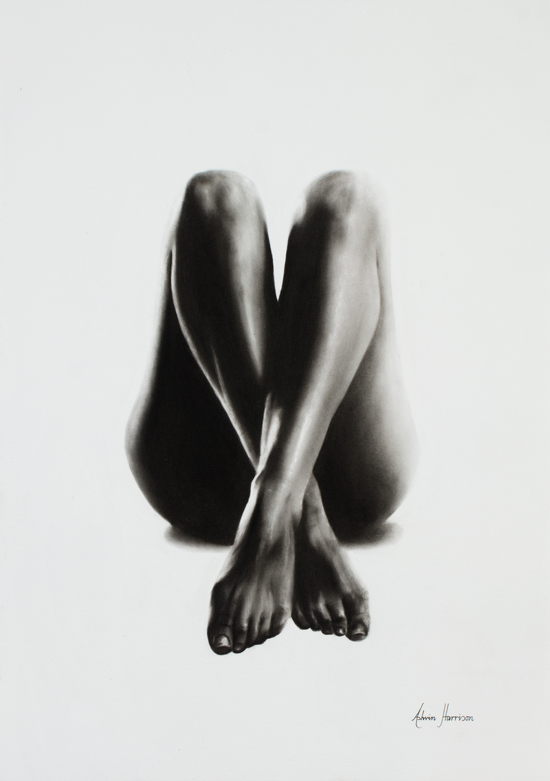 (CreativeWork) Nude Woman Charcoal Study 44 by Ashvin Harrison. drawing. Shop online at Bluethumb.
