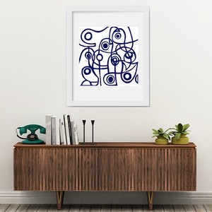 (CreativeWork) Modernist Blue by Shana Danon. mixed-media. Shop online at Bluethumb.