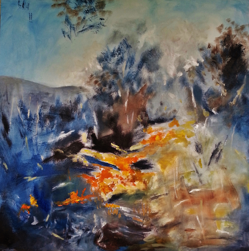 (CreativeWork) Mountains and Fire by Aloisia Fenyes. oil-painting. Shop online at Bluethumb.
