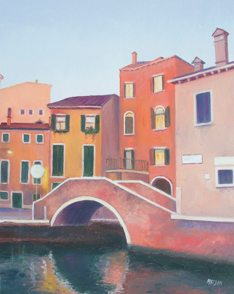 (CreativeWork) Venice Canal by Jan Matson. oil-painting. Shop online at Bluethumb.