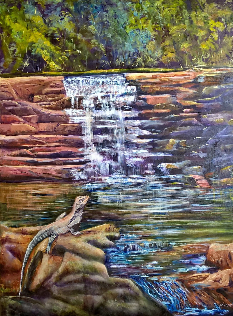 (CreativeWork) Gippsland water dragon, costics weir by Elena Dickman. oil-painting. Shop online at Bluethumb.