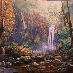 (CreativeWork) Hopetoun Falls - The Otway Ranges by Cheng Huat Lee. arcylic-painting. Shop online at Bluethumb.